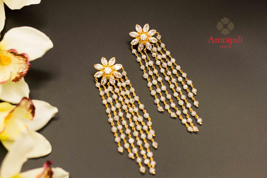Buy Amrapali glass flower top silver gold plated earrings online in USA. Raise your ethnic style quotient on special occasions with exquisite Indian jewelry from Pure Elegance Indian clothing store in USA. Enhance your Indian look with silver gold plated jewelry, necklaces, fashion jewelry available online.-flatlay