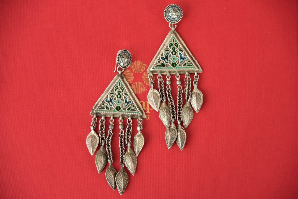 Shop enamel Amrapali silver earrings online in USA with leaf tassels. Enhance your ethnic style with exquisite Indian jewelry from Pure Elegance Indian fashion store in USA. Pick from a range of stunning silver gold plated earrings, silver gold plated necklaces, silver jewelry for a perfect finishing to your ethnic...-front