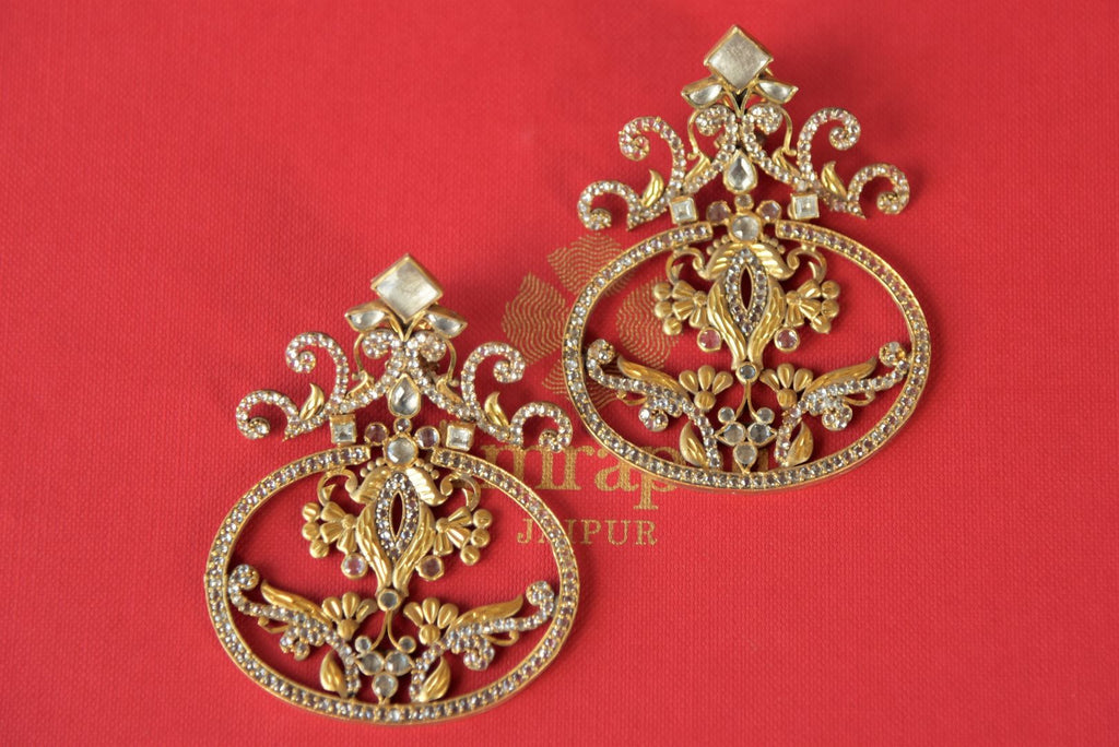 Shop Amrapali silver gold plated glass and zircon earrings online in USA. Enhance your ethnic style with exquisite Indian jewelry from Pure Elegance Indian fashion store in USA. Pick from a range of stunning silver gold plated earrings, silver gold plated necklaces, silver jewelry for a perfect touch to your ethnic sty-front