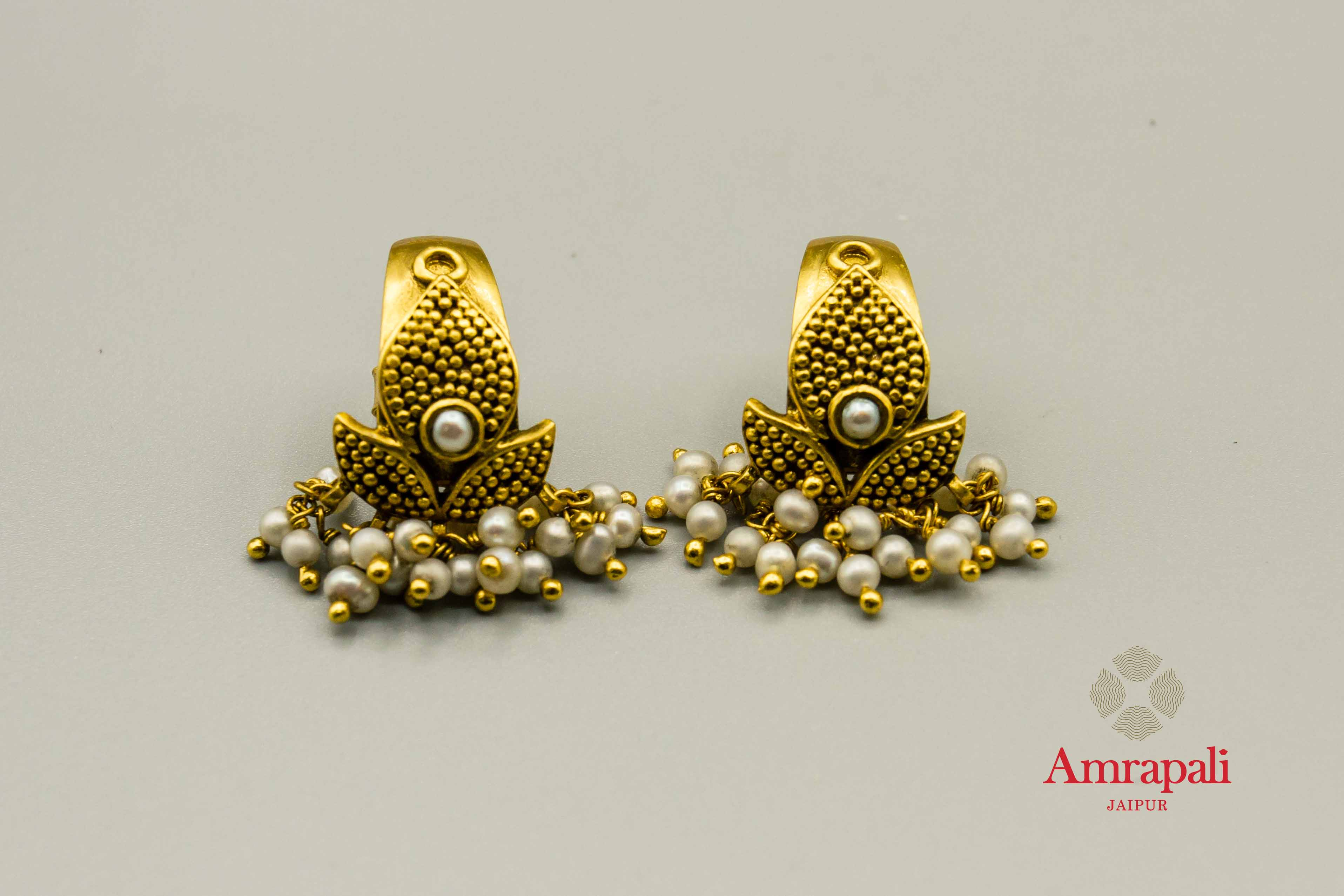 20C221 Silver Gold Plated Leaf Design Earrings with Pearls