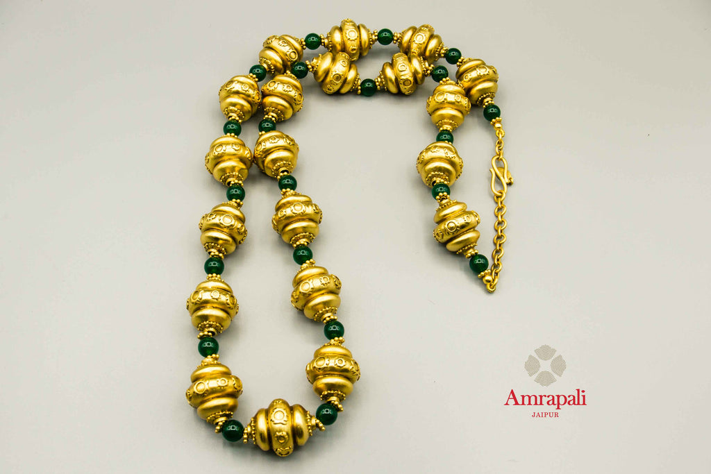 Buy Amrapali green beads silver gold plated necklace online in USA. Raise your traditional fashion quotient on special occasions with exquisite Indian jewelry from Pure Elegance Indian clothing store in USA. Enhance your look with silver gold plated jewelry, silver jewellery available online.-flatlay