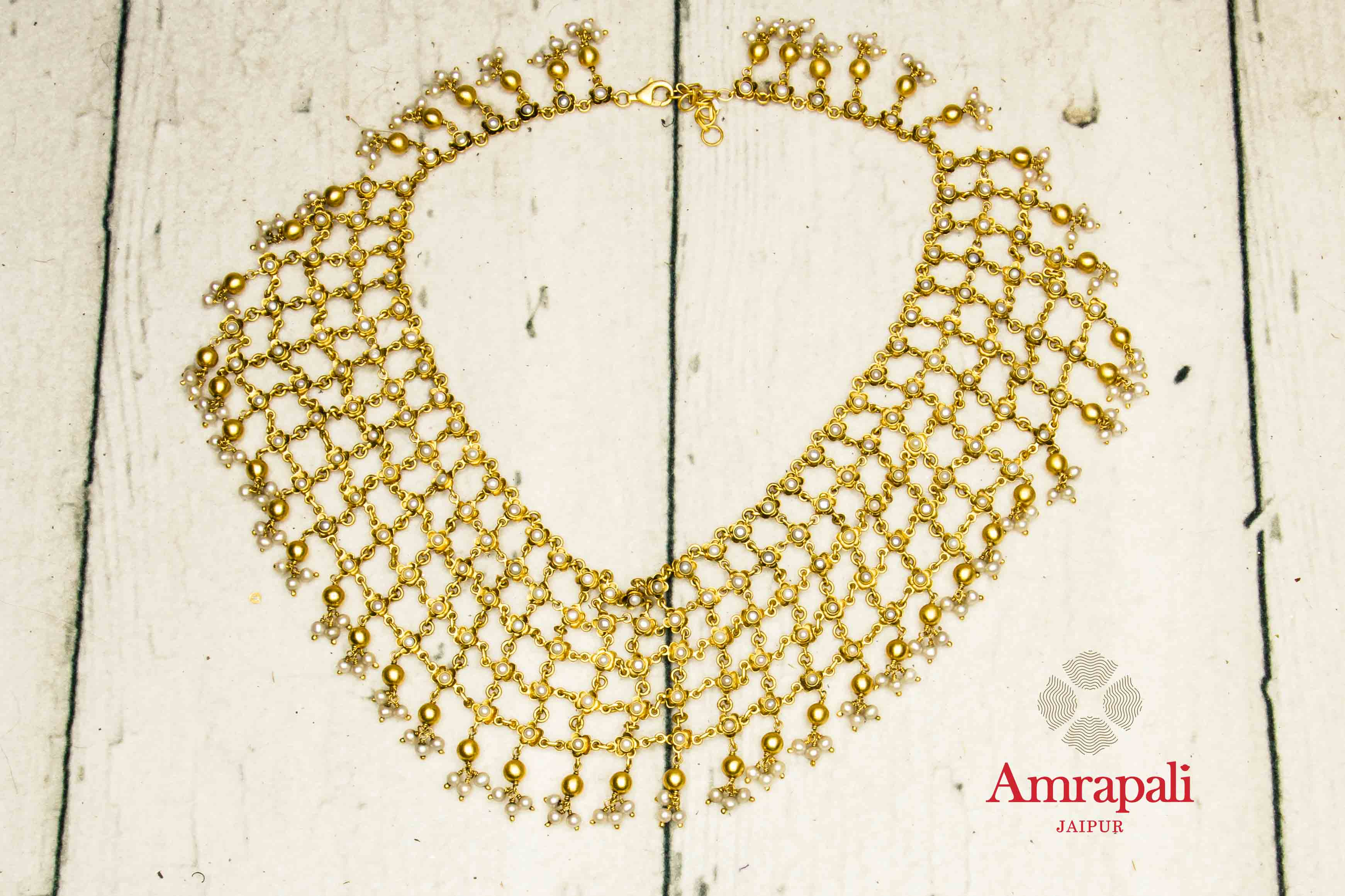 20C239 Silver Gold Plated Jaal Design Necklace with Pearls