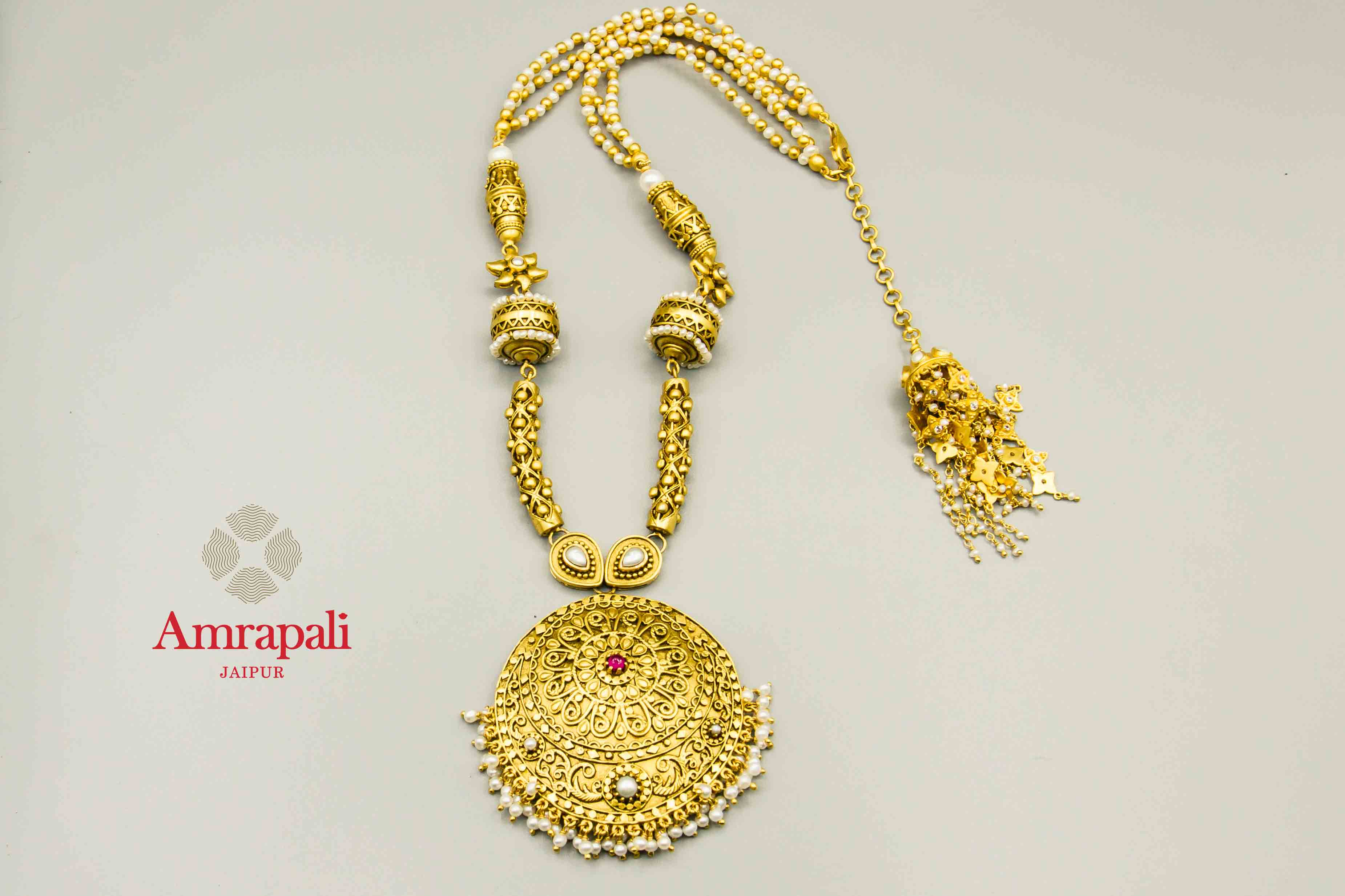 20C240 Filigree Multi Motif Pearl Silver Gold Plated Necklace