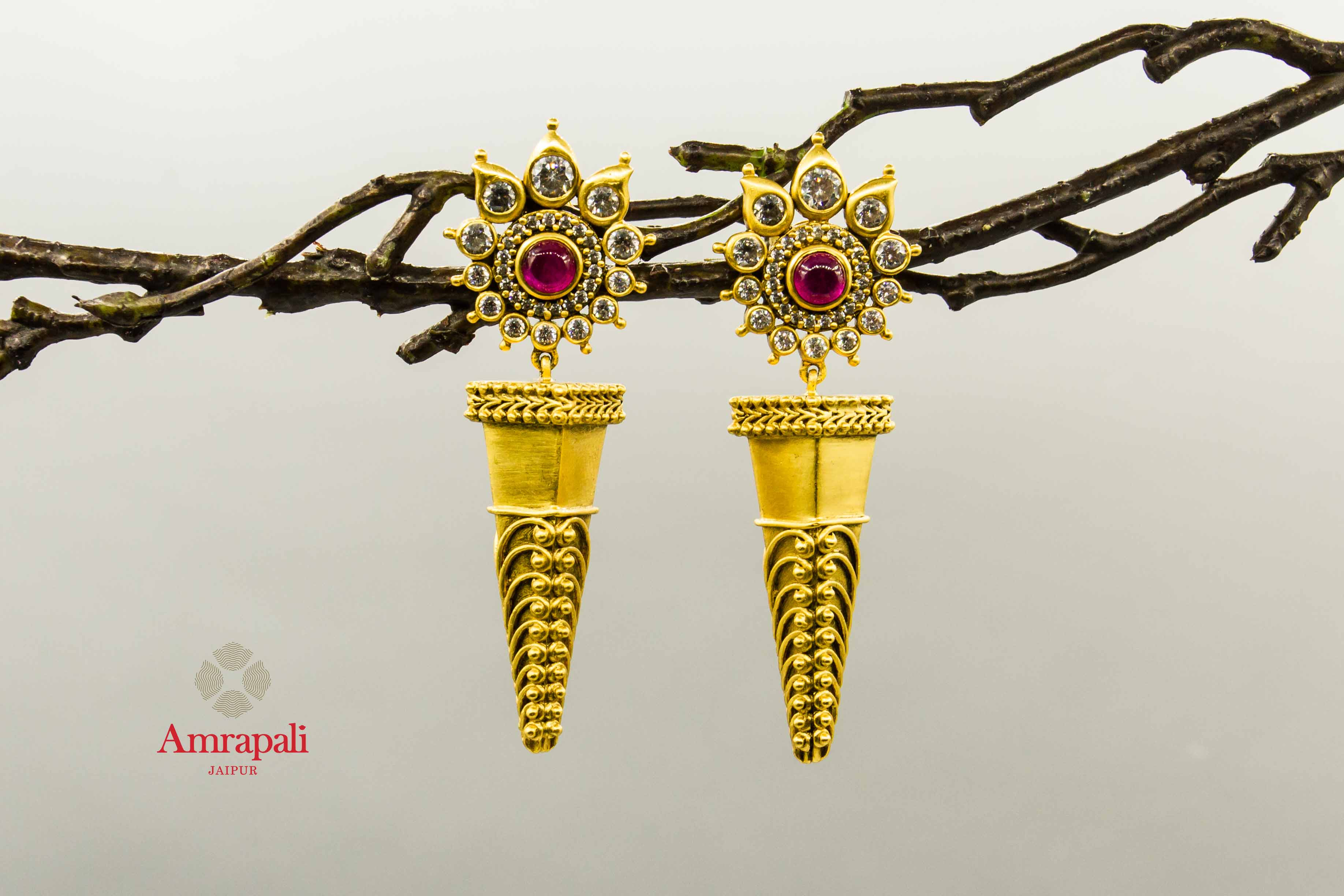 20C242 Flower Filigree Rawa Silver Gold Plated Spike Drop Earrings