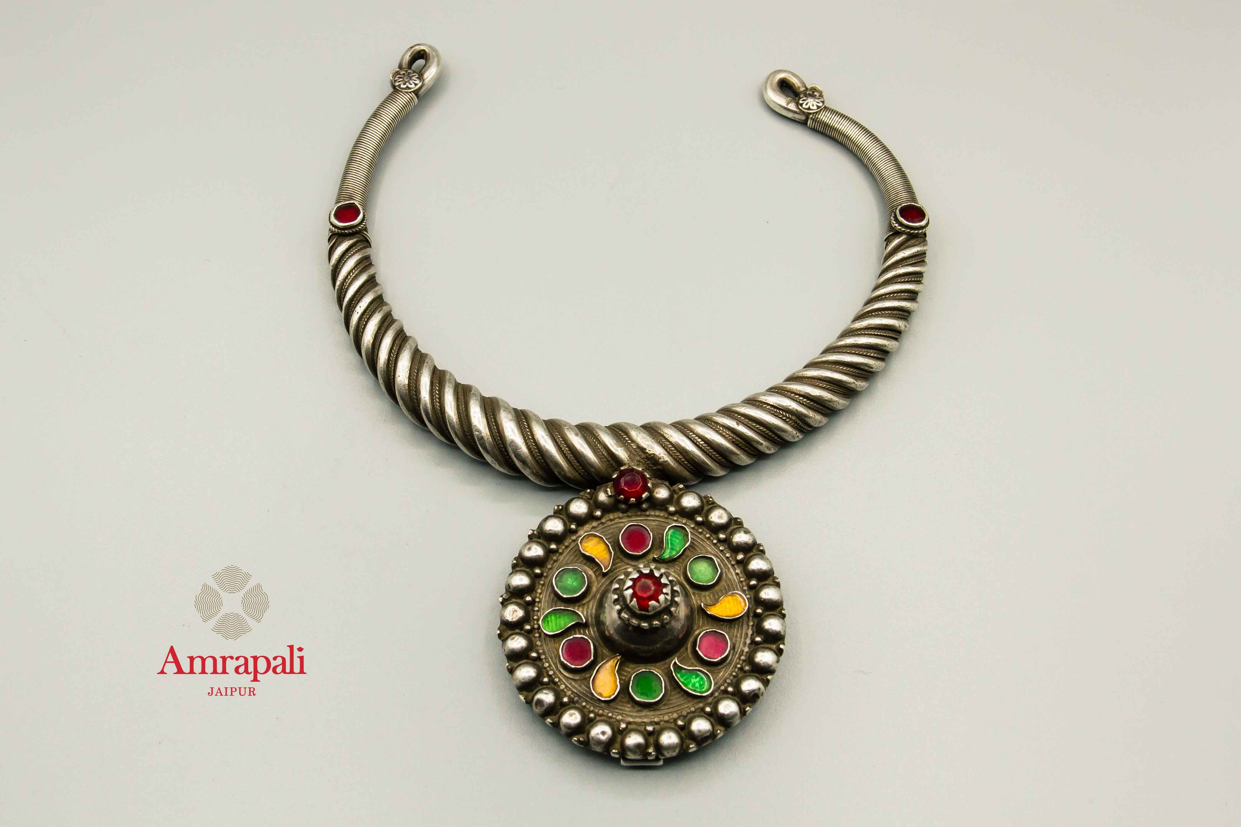 20C244 Antique Silver Hasli Necklace with Multicolor Glass