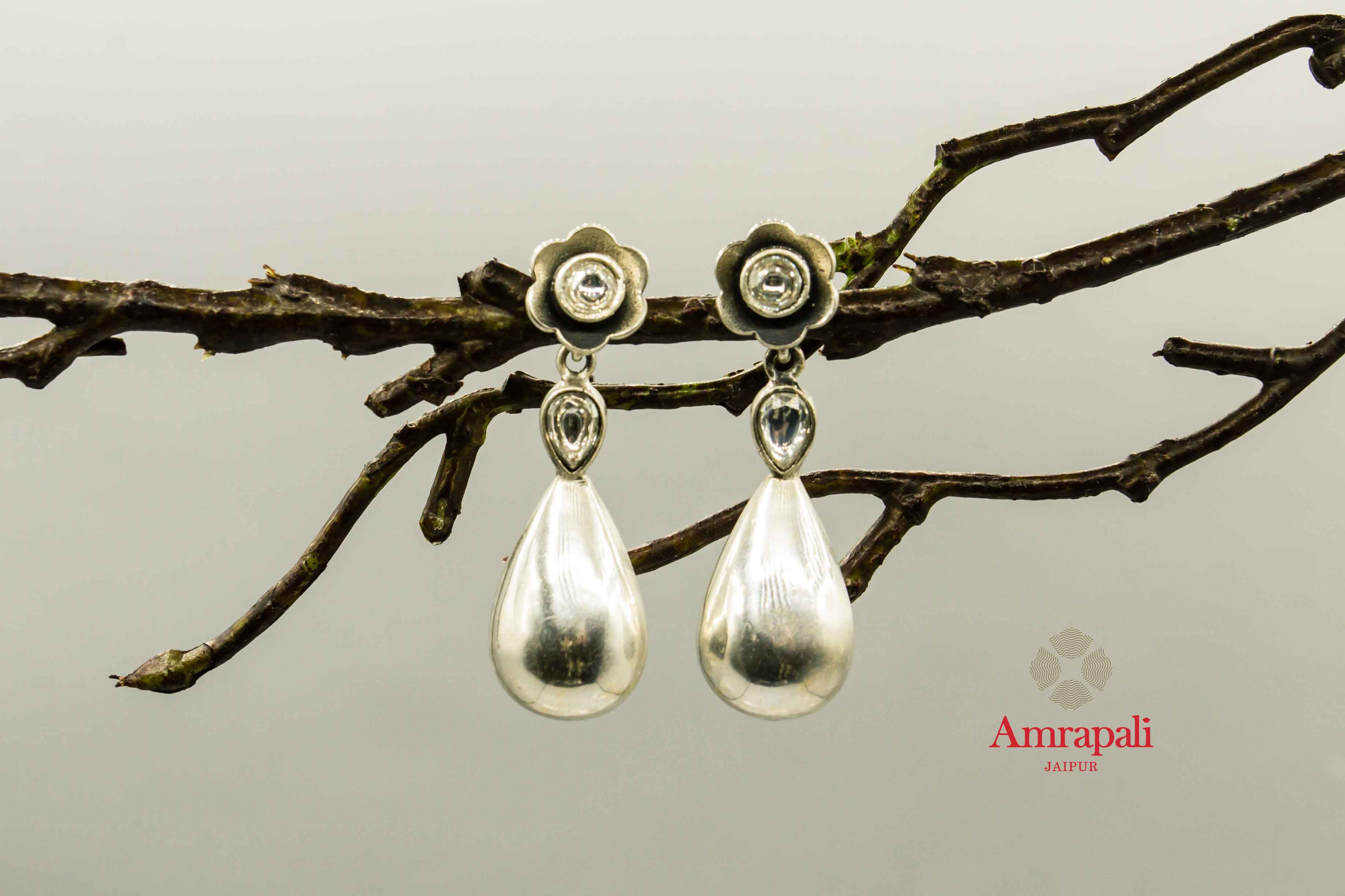 20C248 Silver Flower Pearl Drop Earrings