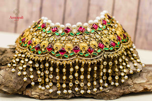 Buy Amrapali heavy silver gold plated kundan pearl bridal choker necklace online in USA with multicolor stones. Complete your ethnic look with traditional Indian jewelry from Pure Elegance Indian fashion store in USA. Shop silver jewelry, wedding jewelry for Indian brides in USA from our online store.front