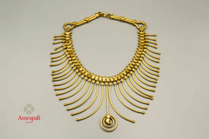 Shop Amrapali silver gold plated multi spikes necklace online in USA. Raise your traditional fashion quotient on special occasions with exquisite Indian jewelry from Pure Elegance Indian clothing store in USA. Enhance your look with silver gold plated jewellery, silver jewellery available online.-flatlay