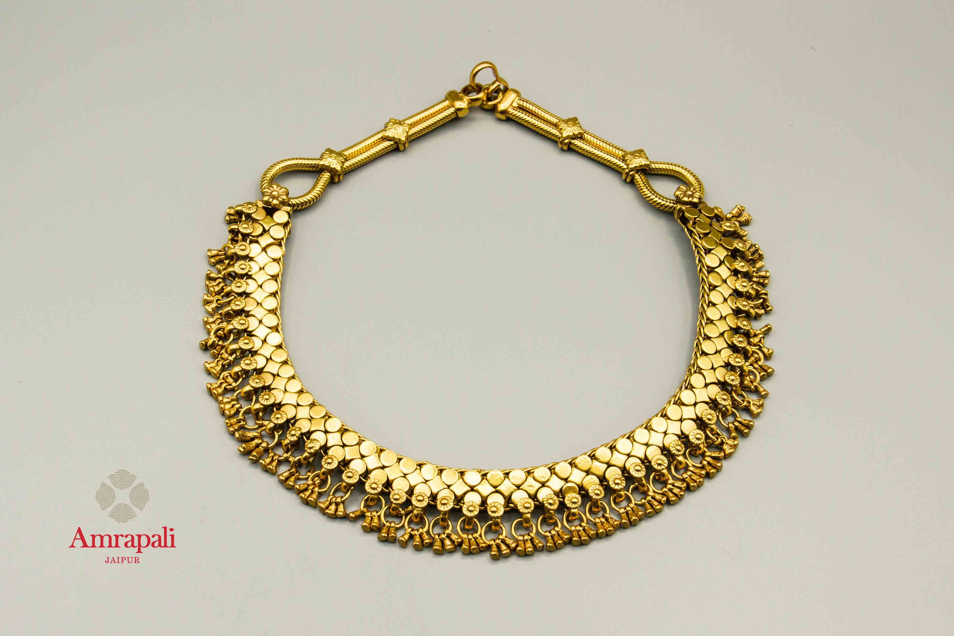20C254 Ethnic Silver Gold Plated Short Necklace
