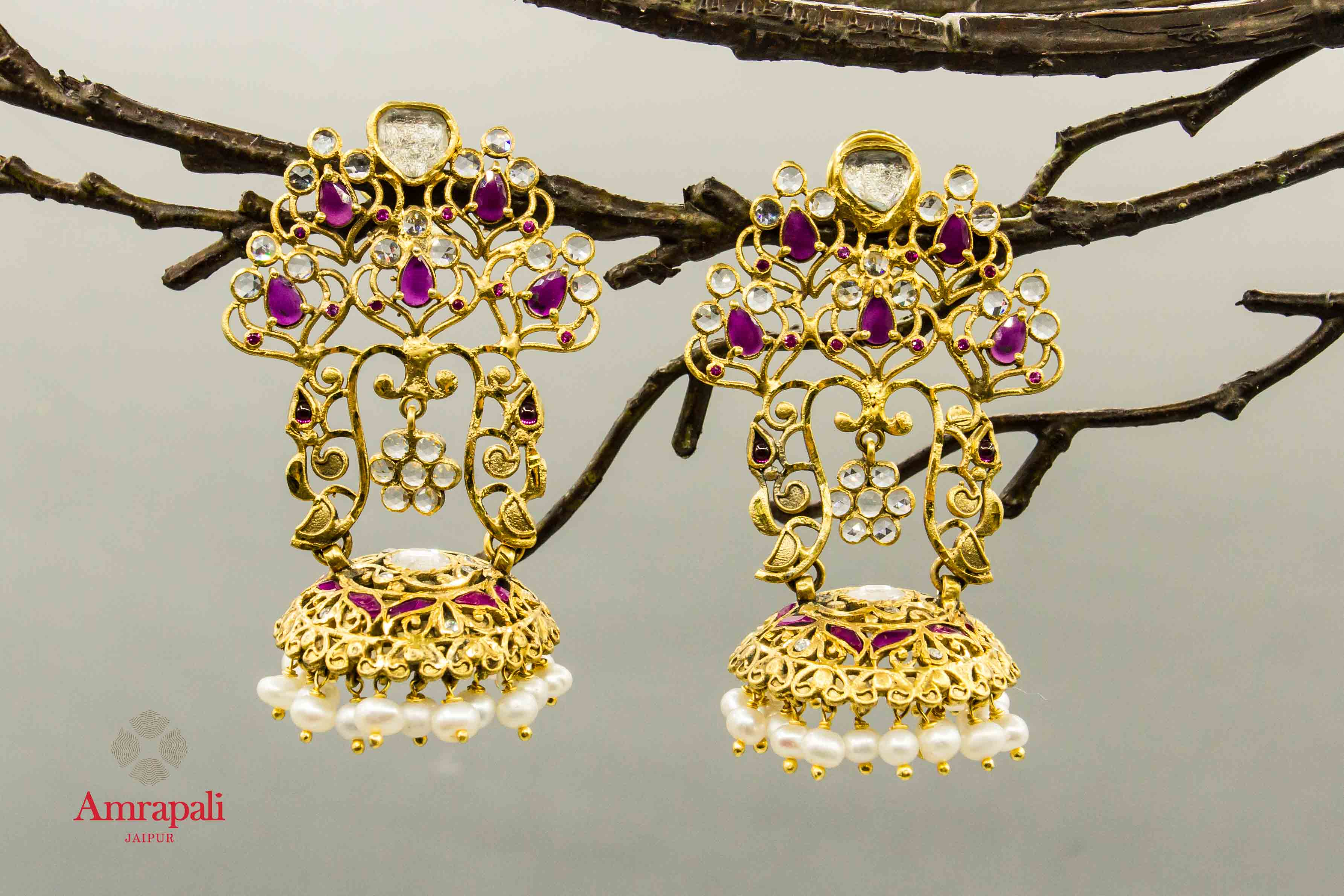 20C267 Silver Gold Plated Glass Pearl Filigree Earrings with Jhumki