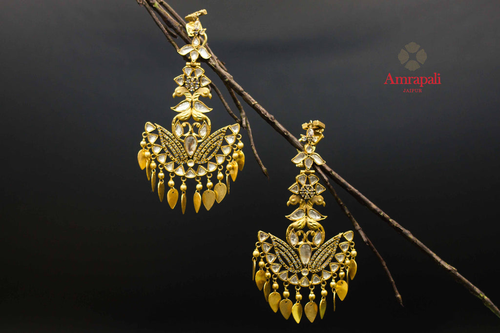Buy Amrapali silver gold plated glass and zircon chandelier online in USA. Raise your ethnic style quotient on special occasions with exquisite Indian jewelry from Pure Elegance Indian clothing store in USA. Enhance your Indian look with silver gold plated jewelry, fashion jewelry available online.-front