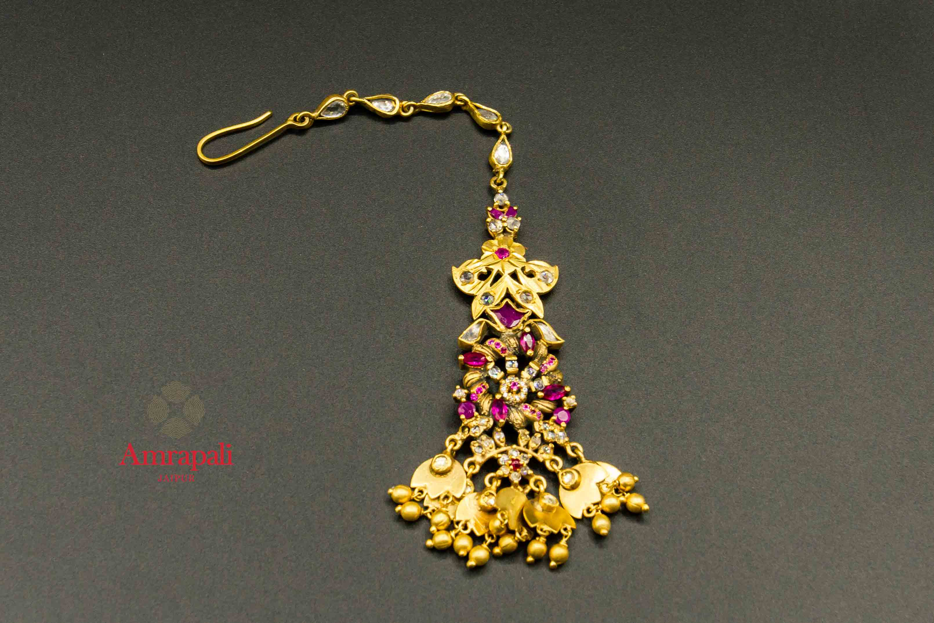 20C272 Beautiful Silver Gold Plated Maang Tikka