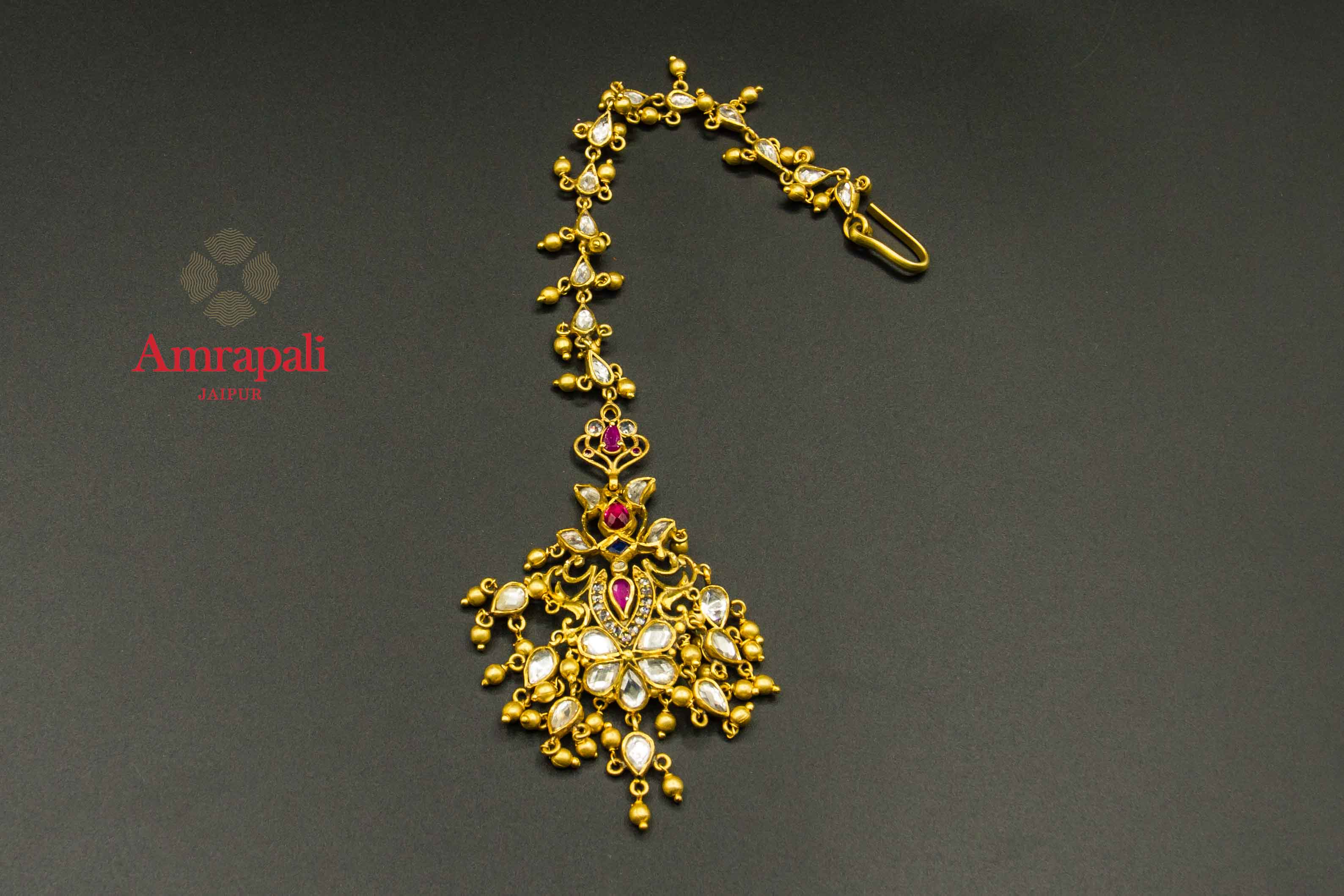 20C273 Silver Gold Plated Glass Floral Maang Tikka