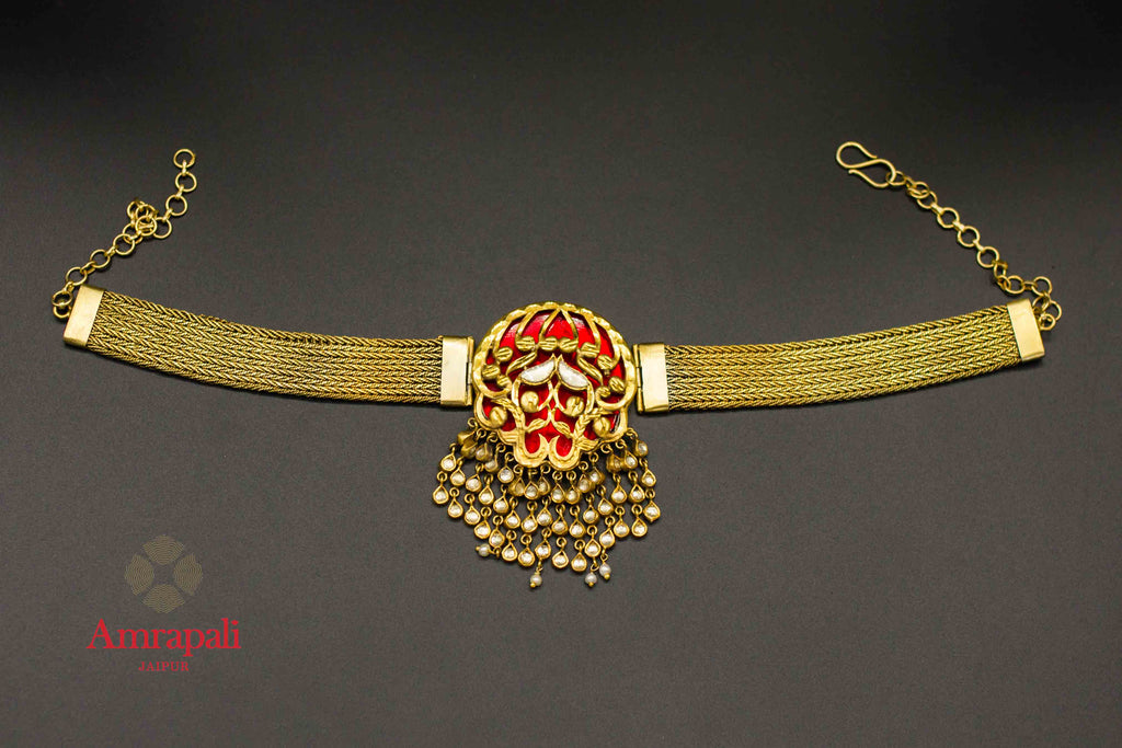 Shop Amrapali silver gold plated glass chain choker necklace online in USA. Raise your ethnic style quotient on special occasions with exquisite Indian jewelry from Pure Elegance Indian clothing store in USA. Enhance your Indian look with silver gold plated jewelry, fashion jewelry available online.-flatlay