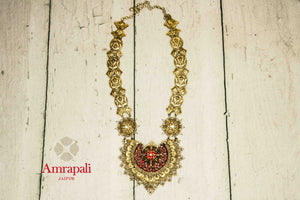 Buy Amrapali heavy silver gold plated bridal pendant necklace online in USA. Raise your traditional fashion quotient on special occasions with exquisite Indian jewelry from Pure Elegance Indian clothing store in USA. Enhance your look with silver gold plated jewelry, wedding jewellery available online.-flatlay