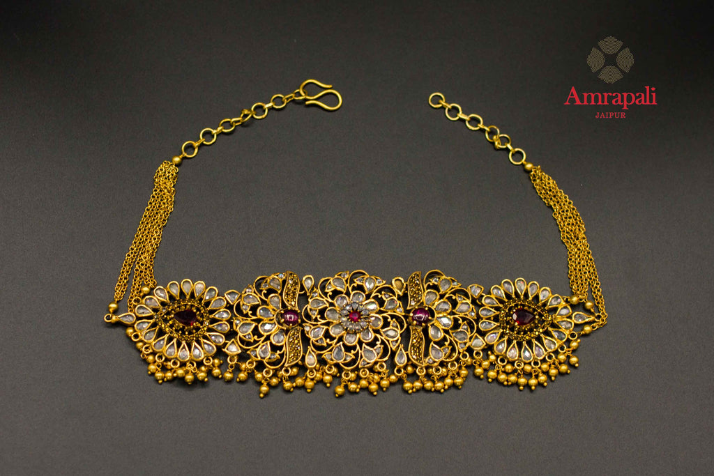 Buy Amrapali silver gold plated floral glass choker necklace online in USA. Raise your ethnic style quotient on special occasions with exquisite Indian jewelry from Pure Elegance Indian clothing store in USA. Enhance your Indian look with silver gold plated jewelry, fashion jewelry available online.-flatlay