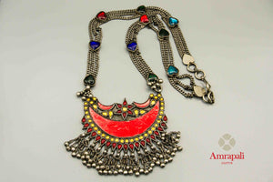 Buy Amrapali colorful glass multi-chain silver necklace online in USA. Raise your traditional fashion quotient on special occasions with exquisite Indian jewelry from Pure Elegance Indian clothing store in USA. Enhance your look with silver gold plated jewelry, wedding jewellery available online.-flatlay
