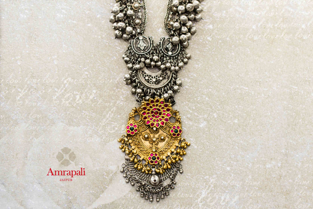 Buy Amrapali silver gold plated two-tone necklace online in USA. Complete your ethnic look with traditional Indian jewelry from Pure Elegance Indian fashion store in USA. Shop silver jewelry, wedding jewelry for Indian brides in USA from our online store.-front