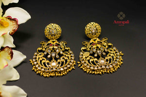 Shop Amrapali silver gold plated glass chandelier earrings online in USA. Raise your ethnic style quotient on special occasions with exquisite Indian jewelry from Pure Elegance Indian clothing store in USA. Enhance your Indian look with silver gold plated jewelry, fashion jewelry available online.-flatlay