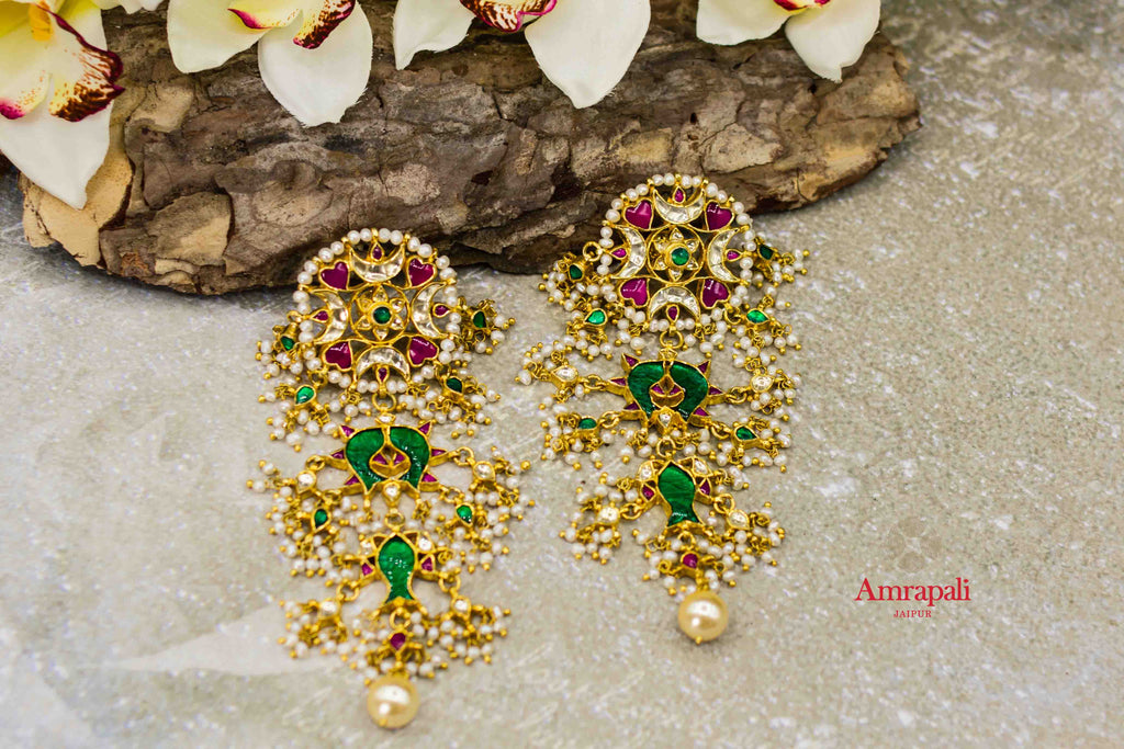 Buy Amrapali silver gold plated flower top kundan and pearl earrings online in USA. Complete your ethnic look with traditional Indian jewelry from Pure Elegance Indian fashion store in USA. Shop silver jewelry, wedding jewelry for Indian brides in USA from our online store.-flatlay