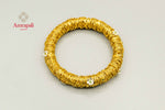 Buy Amrapali silver gold plated woven mesh bangle online in USA. Raise your traditional fashion quotient on special occasions with exquisite Amrapali jewelry from Pure Elegance Indian clothing store in USA. Enhance your look with Indian silver gold plated jewelry, wedding jewellery available online.-flatlay