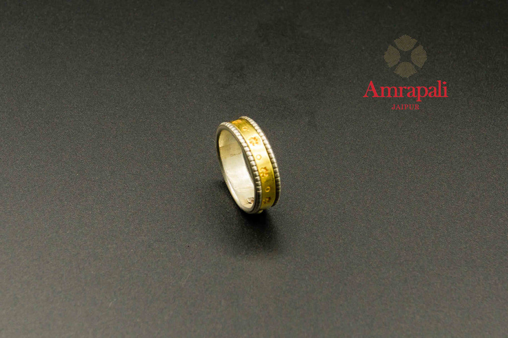 Shop Amrapali silver gold plated two-tone ring online in USA. Raise your traditional fashion quotient on special occasions with exquisite Amrapali jewelry from Pure Elegance Indian clothing store in USA. Enhance your look with Indian silver gold plated jewelry, wedding jewellery available online.-flatlay