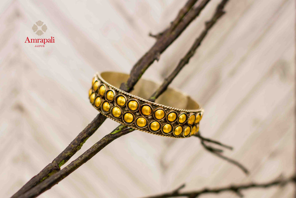 Shop Amrapali silver gold plated two-tone bangle online in USA. Complete your ethnic look with traditional Indian jewelry from Pure Elegance Indian fashion store in USA. Shop silver jewelry, wedding jewelry for Indian brides in USA from our online store.-front