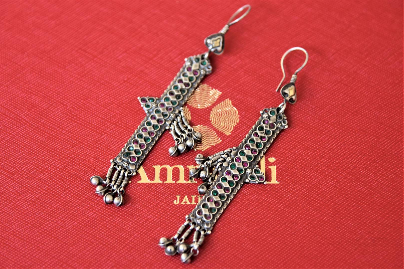 Buy lovely green and pink glass antique silver earrings online in USA. Pure Elegance Indian fashion store presents an exquisite collection of Amrapali silver jewelry in USA for Indian women. Shop now.-flatlay
