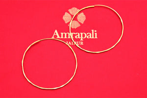Buy Amrapali silver gold plated thin hoop earrings online in USA. Choose from a beautiful range of Indian jewelry, silver jewelry, silver earrings, gold plated jewelry from Pure Elegance Indian fashion store in USA.-flatlay