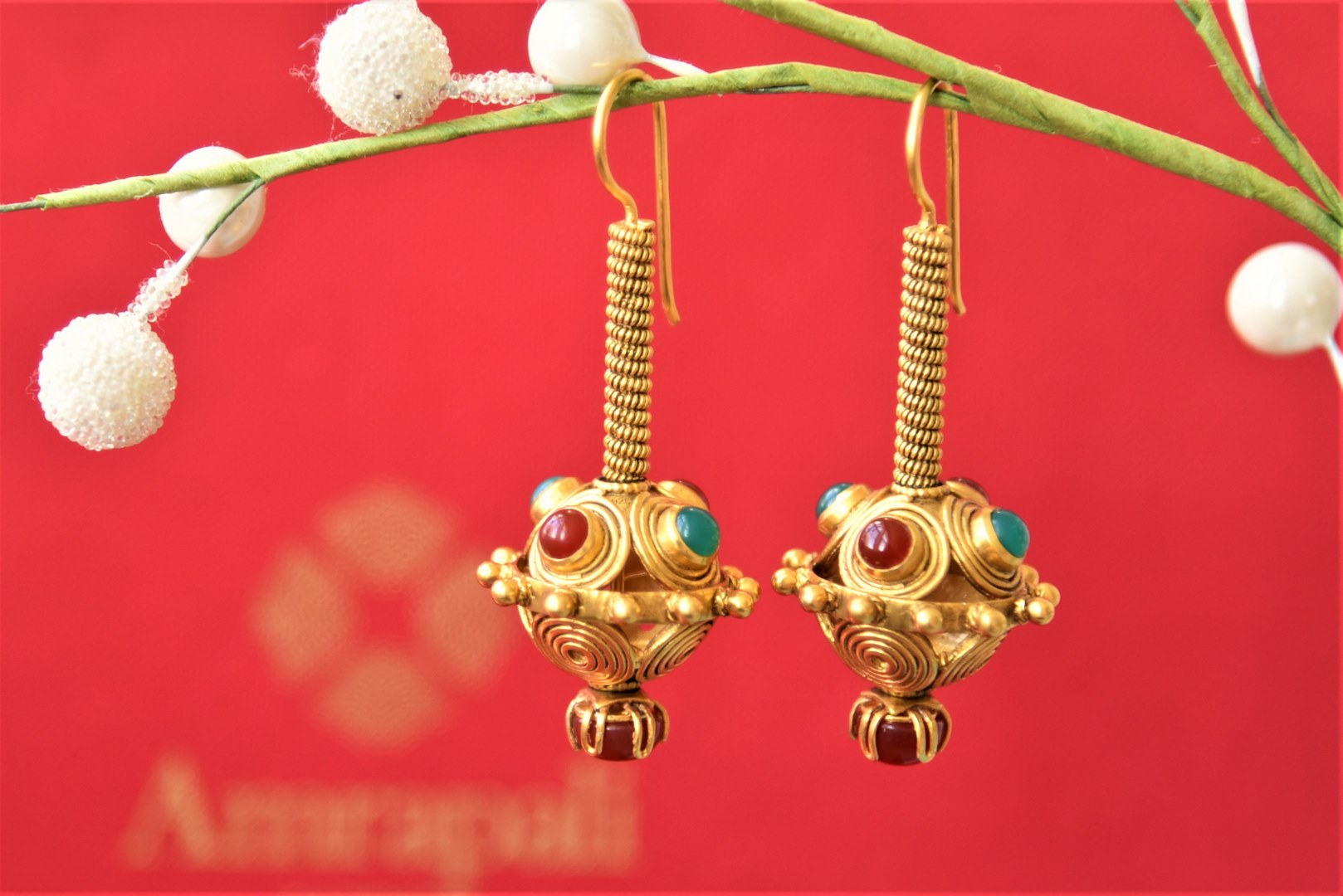 Shop Amrapali silver gold plated colored stone ball drop earrings online in USA. Complete your traditional style with exquisite gold plated jewelry from Pure Elegance Indian fashion store in USA.-front