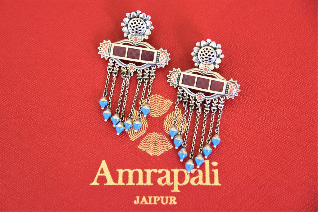 Shop beautiful silver enamel tassel earrings online in USA. Pure Elegance Indian fashion store presents an exquisite collection of Amrapali silver jewelry in USA for Indian women. Shop now.-flatlay