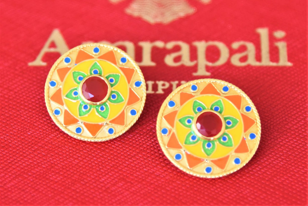 Shop beautiful Amrapali silver gold plated bright enamel studs online in USA. Shop exquisite Amrapali jewelry in USA from Pure Elegance Indian fashion store. Choose from a variety of silver gold plated earrings, gold plated necklaces, silver jewellery. also available online.-flatlay