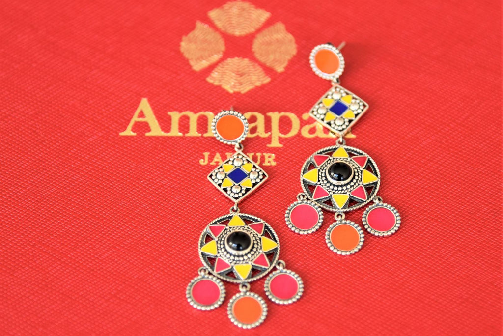 Shop beautiful Amrapali colorful enamel silver earrings online in USA. Shop designer Amrapali jewelry in USA from Pure Elegance Indian fashion store. Choose from a colorful and exquisite variety of gold plated earrings, gold plated necklaces, silver gold plated jewelry for special occasions.-flatlay