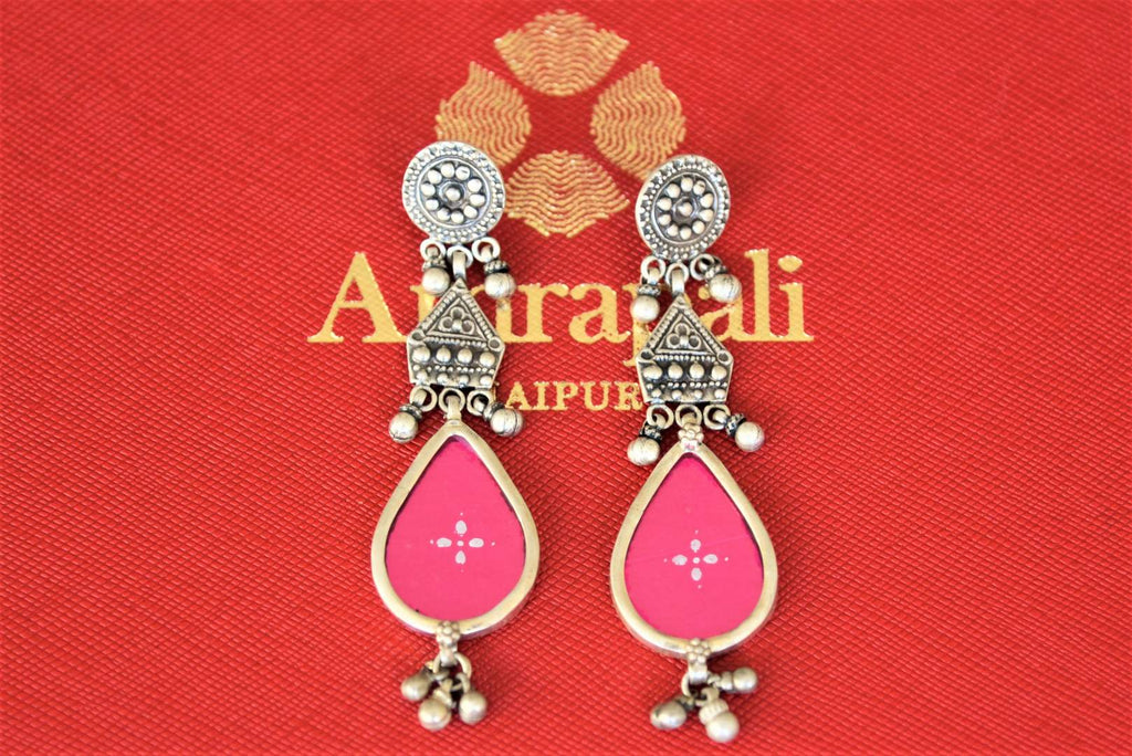 Shop Amrapali pink glass oxidized silver earrings online in USA. Shop designer Amrapali jewelry in USA from Pure Elegance Indian fashion store. Choose from a colorful and exquisite variety of gold plated earrings, gold plated necklaces, silver gold plated jewelry for special occasions.-flatlay