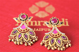 Shop Amrapali silver gold plated floral amethyst and zircon earrings online in USA. Shop designer Amrapali jewelry in USA from Pure Elegance Indian fashion store. Choose from a colorful and exquisite variety of gold plated earrings, gold plated necklaces, silver gold plated jewelry for special occasions.-flatlay