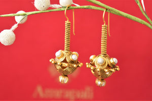 Buy Amrapali silver gold plated pearl ball drop earrings online in USA. Complete your traditional style with exquisite gold plated jewelry from Pure Elegance Indian fashion store in USA.-front