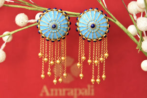 Buy Amrapali silver gold plated blue enamel chakra top earrings online in USA with tassels. Complete your traditional style with exquisite gold plated jewelry from Pure Elegance Indian fashion store in USA.-front