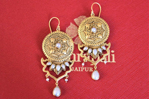 Shop big silver gold plated drop earrings online in USA with pearls. Pure Elegance Indian fashion store presents an exquisite collection of Amrapali silver gold plated jewelry in USA for Indian women. Shop now.-flatlay