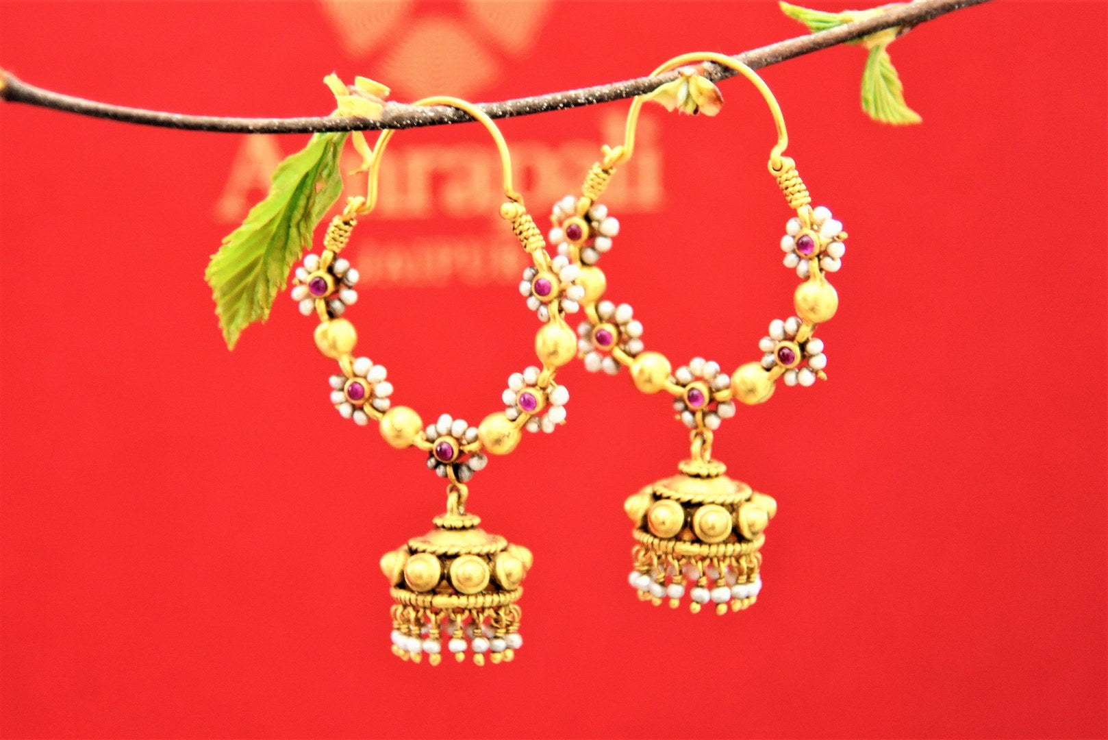 Buy silver gold plated pearl floral hoops online in USA with jhumki. Choose from a beautiful range of Indian jewelry, silver jewelry, silver earrings, gold plated jewelry from Pure Elegance Indian fashion store in USA.-front