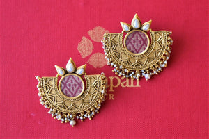 Shop Amrapali silver gold plated crescent studs online in USA with pearl beads. Elevate your ethnic attires with exquisite Indian jewelry, silver earrings, silver gold plated necklaces from Pure Elegance Indian fashion store in USA.-flatlay