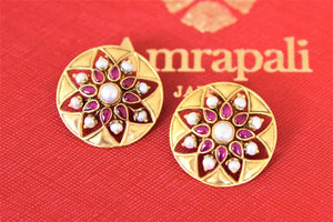 Buy Amrapali silver gold plated pink stone and pearl floral studs online in USA. Shop exquisite Amrapali jewelry in USA from Pure Elegance Indian fashion store. Choose from a variety of silver gold plated earrings, gold plated necklaces, silver jewellery. also available online.-flatlay