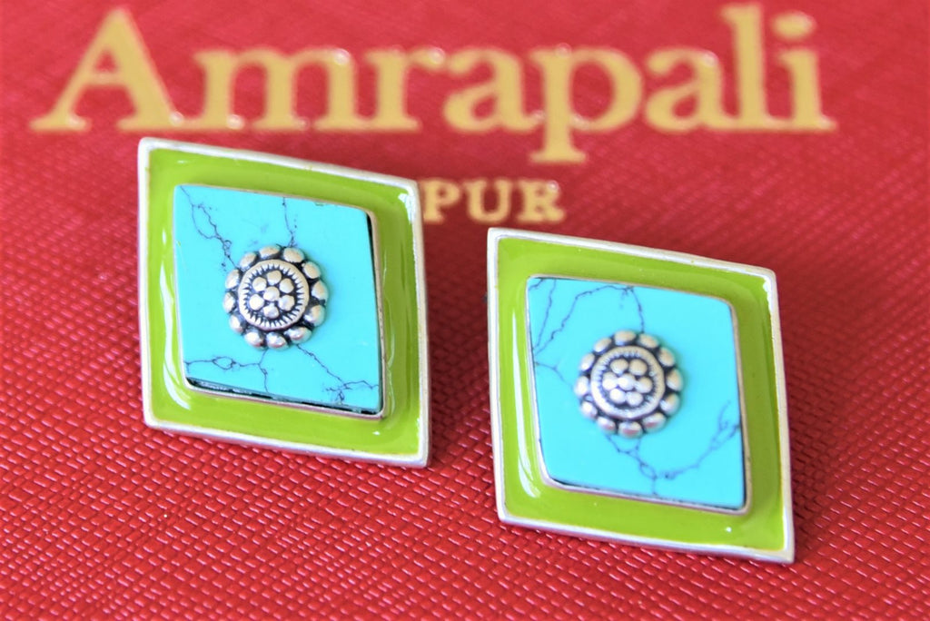 Shop Amrapali turquoise stone and green enamel silver studs online in USA. Shop designer Amrapali jewelry in USA from Pure Elegance Indian fashion store. Choose from a colorful and exquisite variety of gold plated earrings, gold plated necklaces, silver gold plated jewelry for special occasions.-flatlay