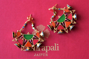 Buy gorgeous silver gold plated Amrapali multicolor glass earrings online in USA. Elevate your ethnic attires with exquisite Indian jewelry, silver earrings, silver gold plated necklaces from Pure Elegance Indian fashion store in USA.-flatlay