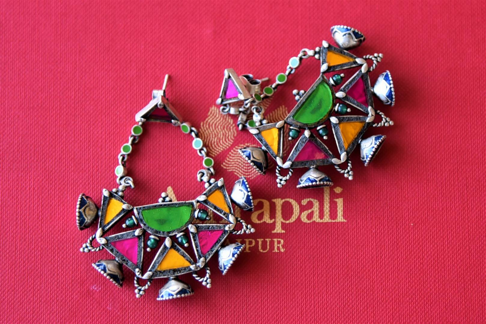 Shop Amrapali multicolor glass silver earrings online in USA with geometric motifs. Elevate your ethnic attires with exquisite Indian jewelry, silver earrings, silver gold plated necklaces from Pure Elegance Indian fashion store in USA.-flatlay