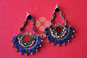 Shop beautiful Amrapali multicolor glass silver chandelier earrings online in USA. Elevate your ethnic attires with exquisite Indian jewelry, silver earrings, silver gold plated necklaces from Pure Elegance Indian fashion store in USA.-flatlay