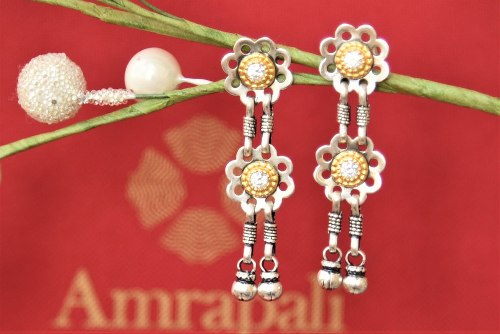 Shop Amrapali silver gold plated two-tone floral drop earrings online in USA. Complete your traditional style with exquisite silver gold plated jewelry from Pure Elegance Indian fashion store in USA.-front