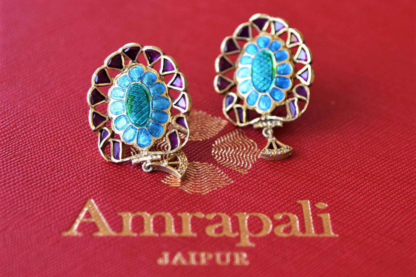 Buy Amrapali silver gold plated purple and blue floral earrings online in USA. Elevate your ethnic attires with exquisite Indian jewelry, silver gold plated earrings, silver gold plated necklaces from Pure Elegance Indian fashion store in USA.-flatlay