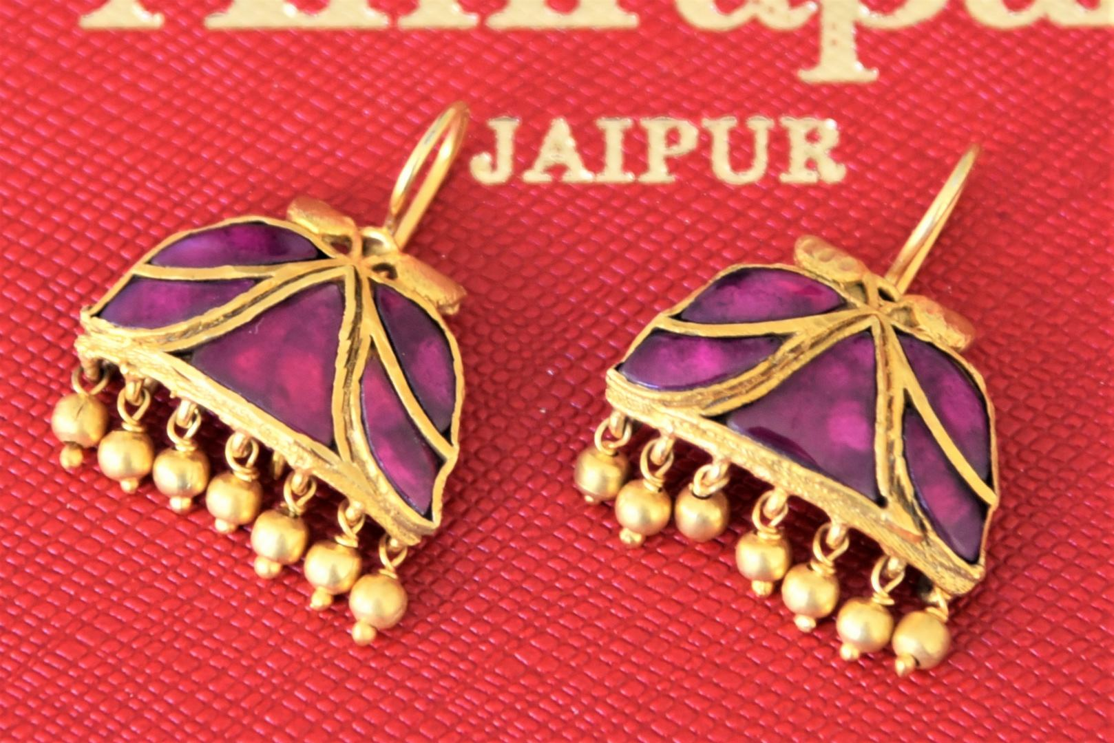 Shop silver gold plated Amethyst earrings online in USA with golden beads. Add spark to your festive style with beautiful Amrapali gold plated jewellery in USA from Pure Elegance Indian fashion store.-full view