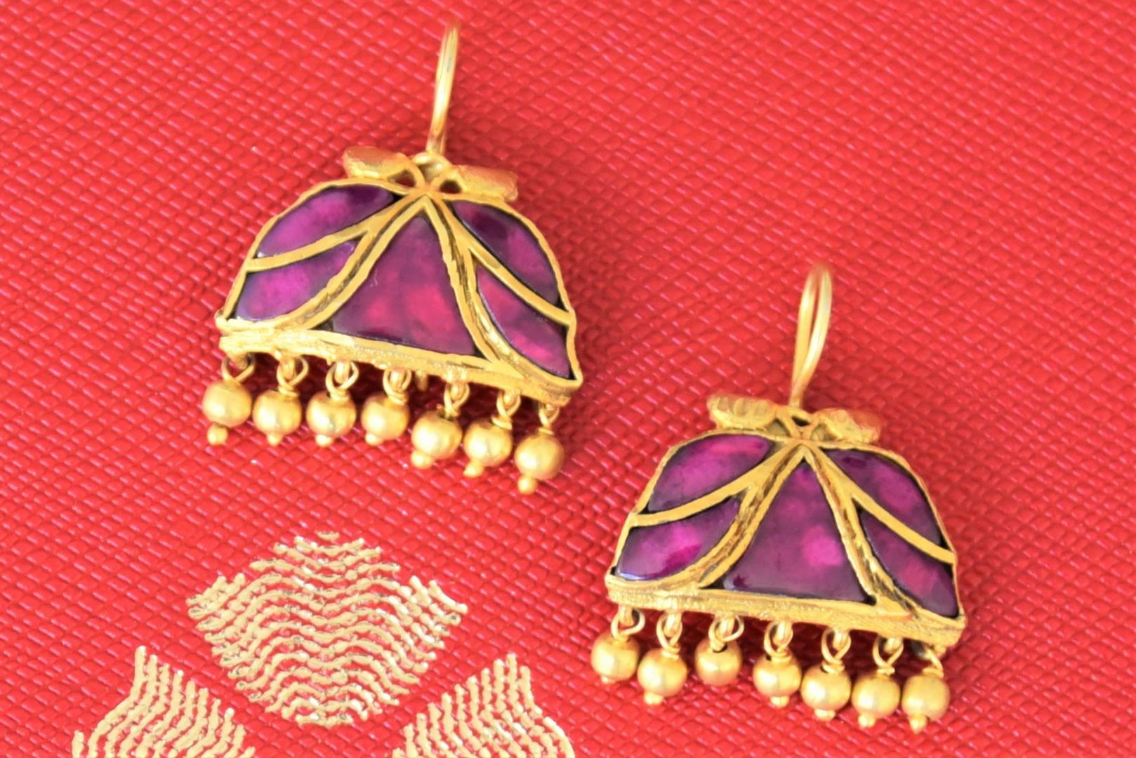 Shop silver gold plated Amethyst earrings online in USA with golden beads. Add spark to your festive style with beautiful Amrapali gold plated jewellery in USA from Pure Elegance Indian fashion store.-flatlay