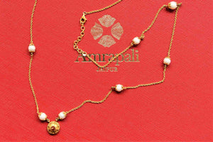 Buy elegant Amrapali silver gold plated chain necklace online in USA with pearl beads. Give yourself a beautiful traditional makeover this wedding season with exquisite gold plated jewellery, silver jewelry from Pure Elegance Indian fashion boutique in USA.-flatlay